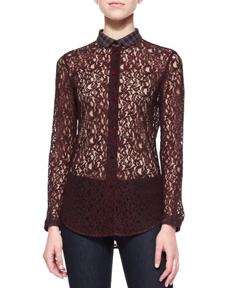 Lace Blouse with Plaid Collar