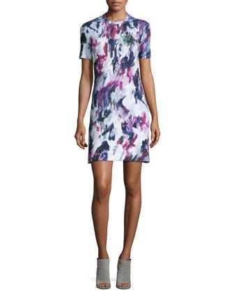 Printed Short-Sleeve Sweatshirt Dress
