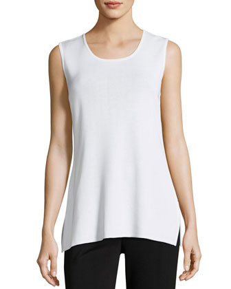 Round Sleeveless Tank, White