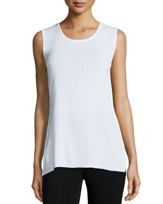 Round Sleeveless Tank, White, Women's