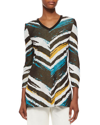 3/4-Sleeve Graphic Tunic, Petite