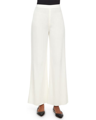 Washable Wide-Leg Pants, Cream, Women's