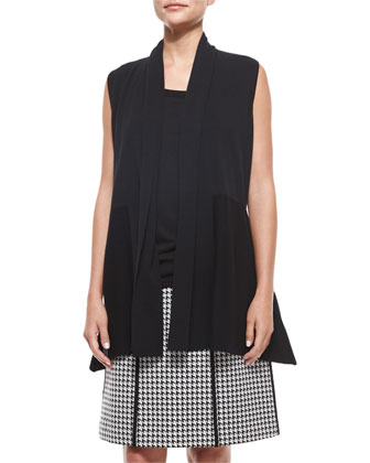 Ribbed Shawl-Collar Vest, Scoop-Neck Knit Shell & Madeline Houndstooth ...