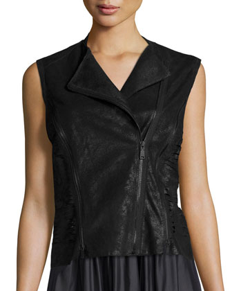 Victoria Leather Multi-Zip Vest & Jenna Pleated A-Line Skirt