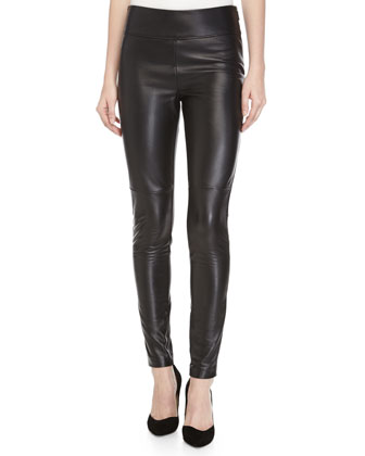 Double-Face Leather Pants, Black