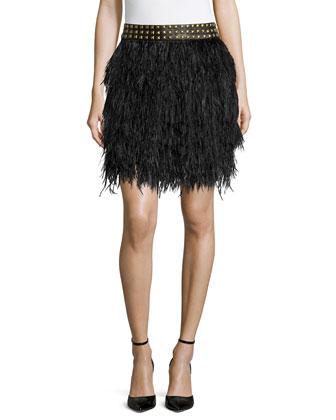 Feather Skirt with Studded Waist, Black