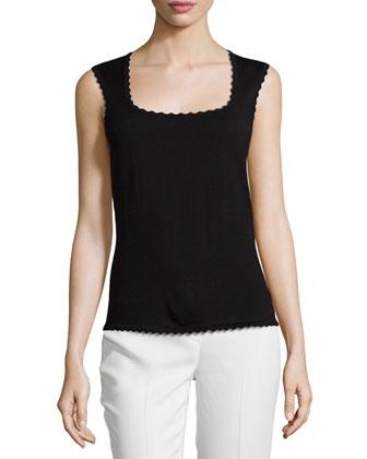 Scalloped-Edge Knit Shell, Black