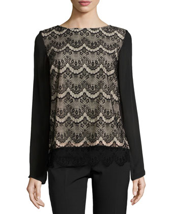Scalloped-Lace Long-Sleeve Top, Black/Nude
