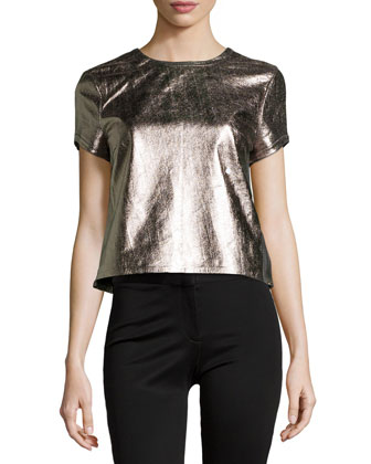 Metallic Leather Short-Sleeve Tee, Gold Multi