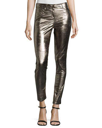 Skinny Leather Pants, Gold Multi