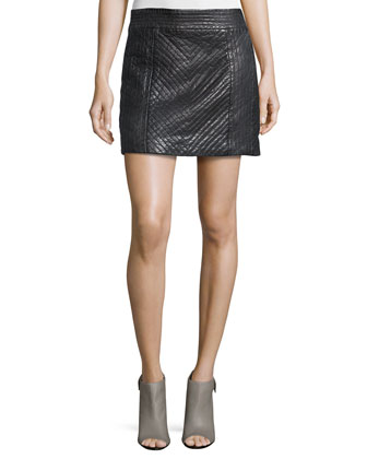 Quilted Leather Mini Skirt, Black