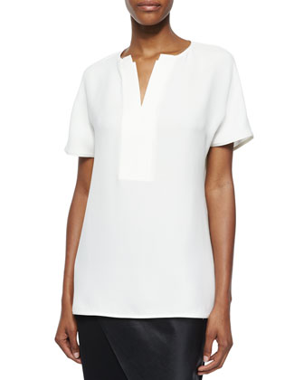 Lulu Short-Sleeve Silk Tunic
