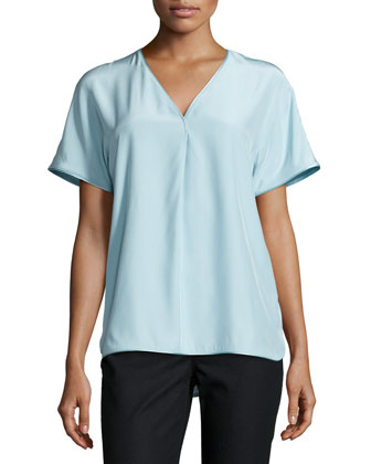 Lanette Short-Sleeve Silk Blouse