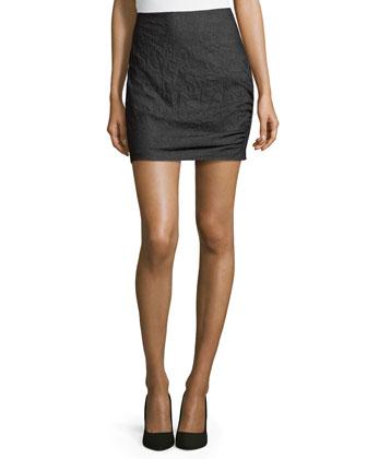 Side-Ruching Denim Skirt, Indigo