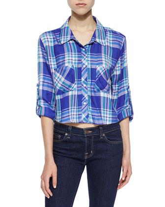Rian Plaid Cropped Shirt, Blue-Violet