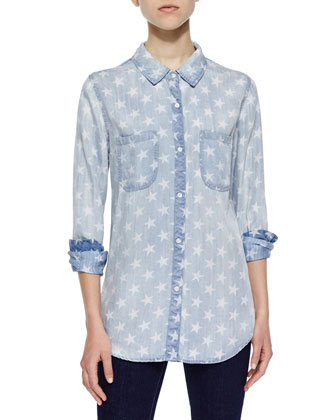 Long-Sleeve Denim Carter Shirt, Star Wash