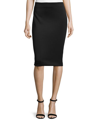 Mid-Rise Neoprene Pencil Skirt, Black
