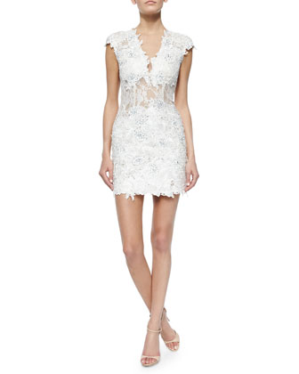 Cap-Sleeve V-Neck Lace Cocktail Dress