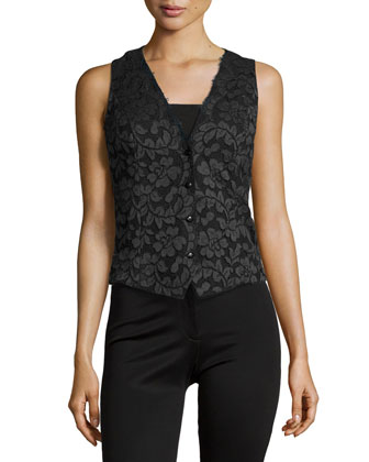 Lace Button-Down Blouse, Black