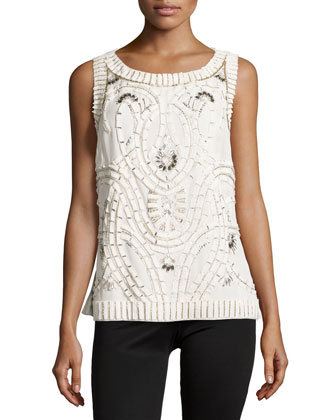 Bead & Sequin Embellished Blouse, Ivory
