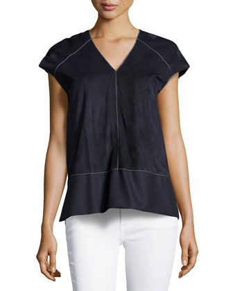Cap-Sleeve Suede Blouse, Navy