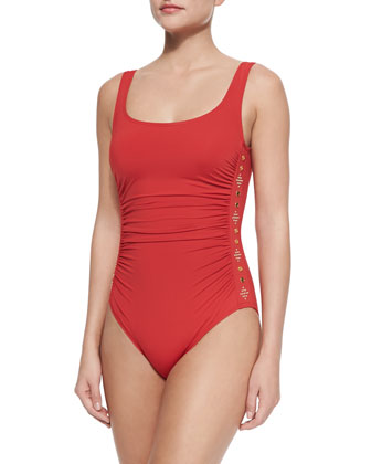 Studded Ruched One-Piece Swimsuit, Chili, Women's