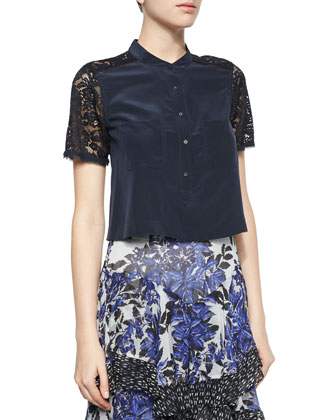 Short-Sleeve Silk & Lace Crop Top, Navy