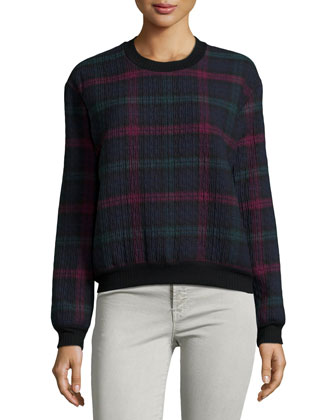 Contrast-Trim Plaid Sweatshirt, Multi Colors