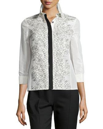 Lace-Applique Two-Tone Blouse, Ivory/Black