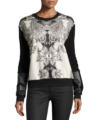 Courtney Flourish Printed-Front Top, Black/Ivory