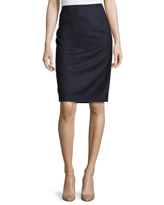 Wool Pencil Skirt, Navy