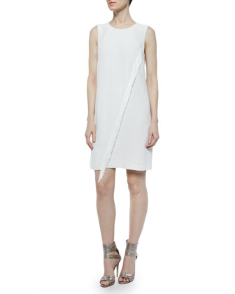 Sleeveless Crepe Fringe Dress, Cream