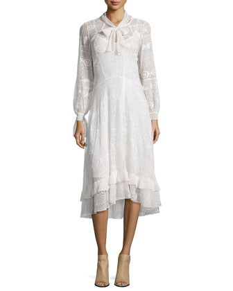 Hiero Long-Sleeve Embroidered Silk Dress, Cream