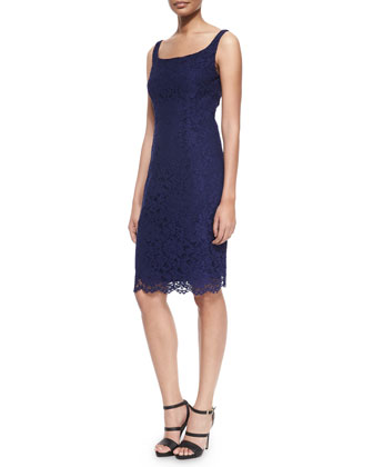 Sleeveless Lace Cocktail Dress, Navy