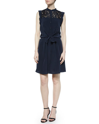 Sleeveless Lace-Trim Silk Shirtdress, Navy