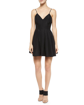 Star Crossed Pleated Fit-and-Flare Dress, Black