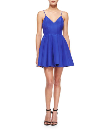 Star Crossed Pleated Fit-and-Flare Dress, Blue