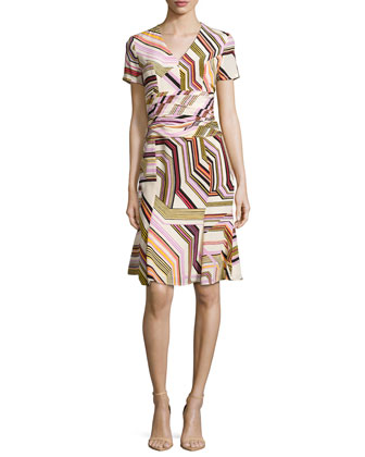Short-Sleeve V-Neck Printed Dress, Multi Colors