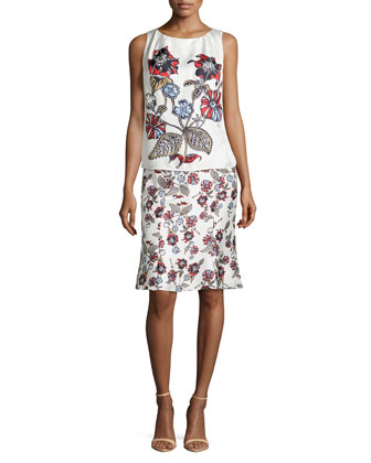 Sleeveless Round-Neck Printed Dress, Multi Colors