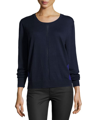 Long-Sleeve Round-Neck Combo Sweater, Navy