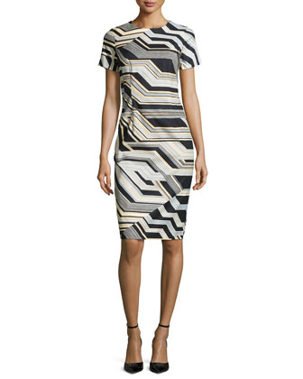 Short-Sleeve Jewel-Neck Sheath Dress, Multi Colors