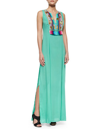 Boho Print Maxi Dress, Mint Green