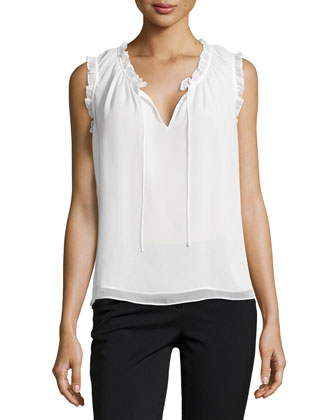 Rebekah Ruffle-Trim Silk Blouse