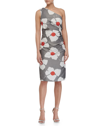 One-Shoulder Floral-Print Dress, Poppy Red/Gray