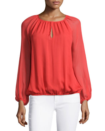Hathaway Sheer-Sleeve Silk Top