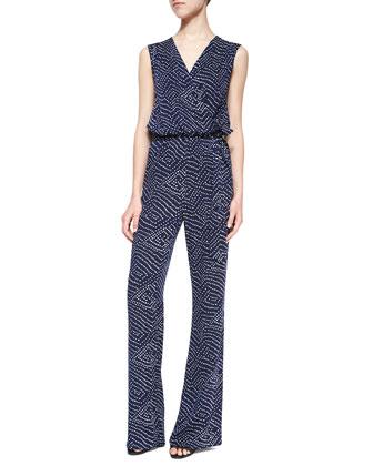 Eva Batik-Print Sleeveless Jumpsuit