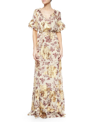 Jane Floral-Print Long Dress