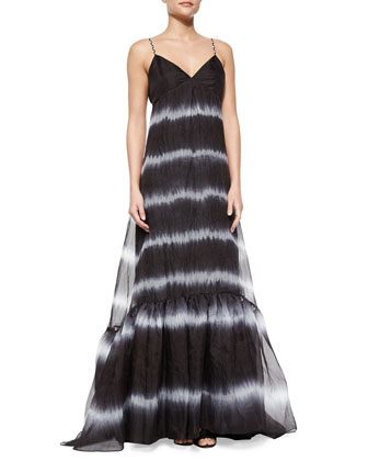 Bria Tie-Dye Chiffon Maxi Dress, Black/White