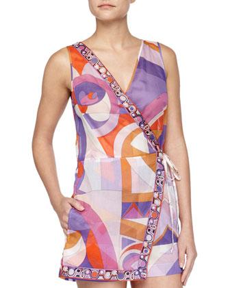 Printed Wrap Coverup Romper & Kaleidoscope-Print Large Canvas Bag