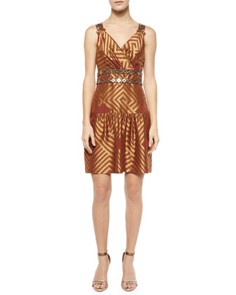 Eugenia Brocade Drop-Waist Dress, Cocoa/Gold